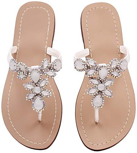 Hinyyrin Thong Sandals for Women Jeweled Sandals Flip Flops White Bride Size 8 by Hinyyrin