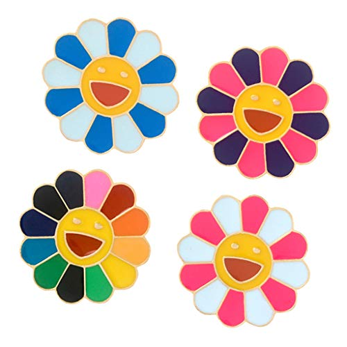 perfektchoice 4Pcs Colorful Sunflower Enamel Lapel Pins Sets Cartoon Brooches Pin Badges for Clothing Bags Backpacks Jackets Hat DIY from perfektchoice