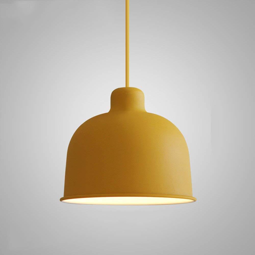 Gelb Jiafum Bunte Macaron EIN-Kopf-Pendelleuchte, Metal Single-Head Small Pendant Lights Dekoration Bar Schlafzimmerstudie E27 Socket Height Adjustable,Gelb