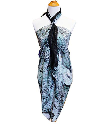 SCARF_TRADINGINC® Animal Pattern Pareo Sarong Swimsuite Cover-up (Snake Skin Greenish Grey)