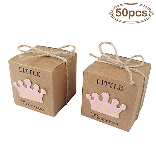 AerWo 50pcs Little Princess Baby Shower Favor Boxes + 50pcs Twine Bow, Rustic Kraft Paper Candy Bag Gift Box for Baby Shower Party Supplies Cute 1st Birthday Girl Decoration, Pink ()
