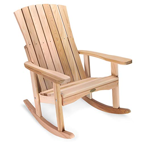 Adirondack Rocking Chair Clear Western Red Cedar Quiet Rocker Arm Rests, Form Fitting Seat, Comfort Back Support