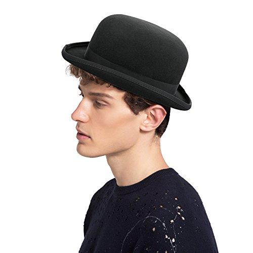 Sedancasesa 100% Wool Felt Derby Bowler Hat Roll Brim Classic Black Grey (Black Felt Bowler Hat)