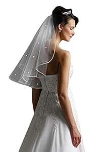 White Elbow 1 Tier Swarovski Crystal Rhinestones Wedding Bridal Veil Satin Edge