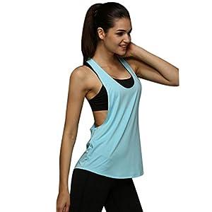 S~L Training Run Vest ,Prettymenny's Women Summer Sexy Loose Sport Top (L, Light Blue)