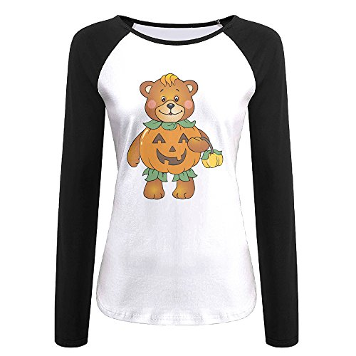 Creamfly Womens Halloween Pumpkin Bear Long Sleeve Raglan Baseball Tshirt L
