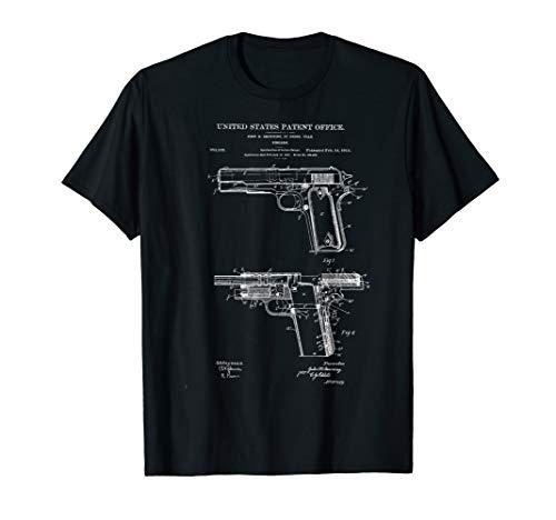 1911 Retro Vintage Handgun Diagram Blueprint Pistol 45ACP T-Shirt (Diagram M16)
