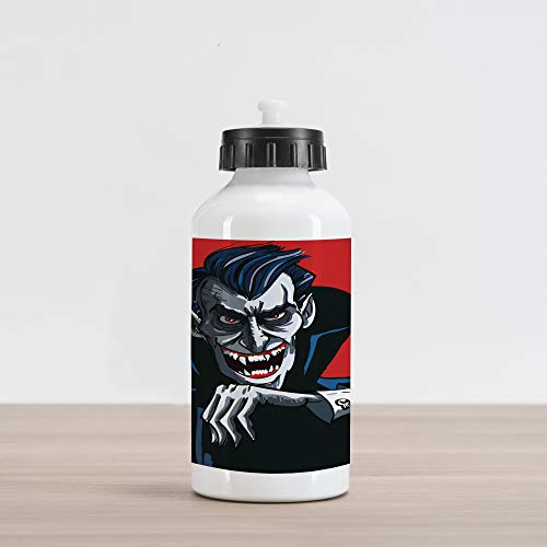 Lunarable Vampire Aluminum Water Bottle, Cartoon Cruel Old Man with Cape Sharp Teeth Evil Creepy Smile Halloween Theme, Aluminum Insulated Spill-Proof Travel Sports Water Bottle, Blue Red Grey ()