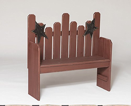 (Primitive Rustic Country Style Star Back Bench-Modern Walnut Stain)