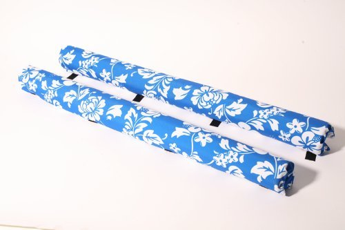 Vitamin Blue 36'' Roof Rack Pads Blue Floral - Non Logo (MADE in U.S.A.) AERO PADS by Vitamin Blue