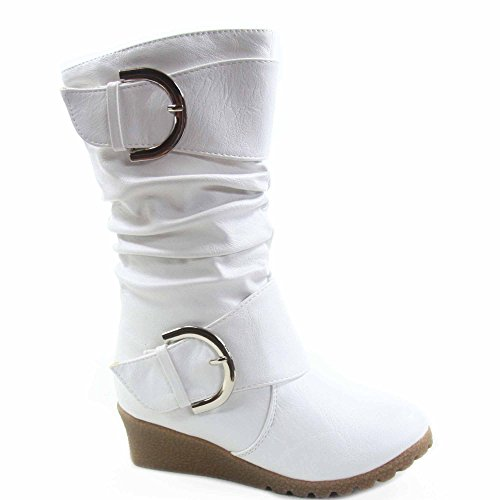Pure-65k Youth Girl's Cute Buckle Zipper Low Wedge Slouch Boot Shoes (9, White)