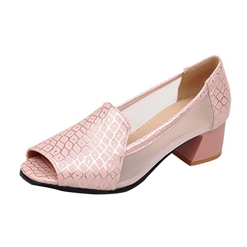 Charm Foot Womens Mid Heel Office Lady Pumps Peep Toe Shoes Pink