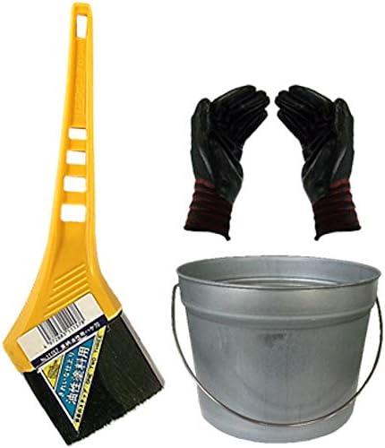 黄柄油性ハケ70mm巾 ペール缶セット(作業手袋付き)お急ぎ便