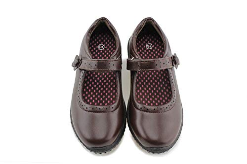 Jabasic Girl's Mary Jane School Uniform Shoes (2,Brown)