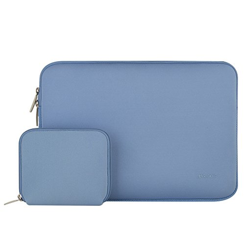 Mosiso Water Repellent Lycra Sleeve Bag Cover for 13-13.3 Inch Laptop with Small Case for MacBook Charger, Serenity Blue