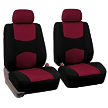 FH Group Universal Fit Flat Cloth Pair Bucket Seat Cover, (Burgundy/Black) (FH-FB050102, Fit Most Car, Truck, Suv, or Van)