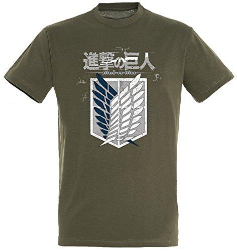 Attack on Titan Herren Crew Logo T-Shirt Original 100% Baumwolle Grün Manga Anime