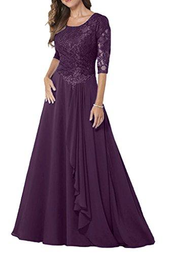 Braut Navy Lang Festlichkleider Abendkleider Spitze Blau mia Rock Brautmutterkleider Traube Chiffon La Formal Damen Langarm a5xqFF