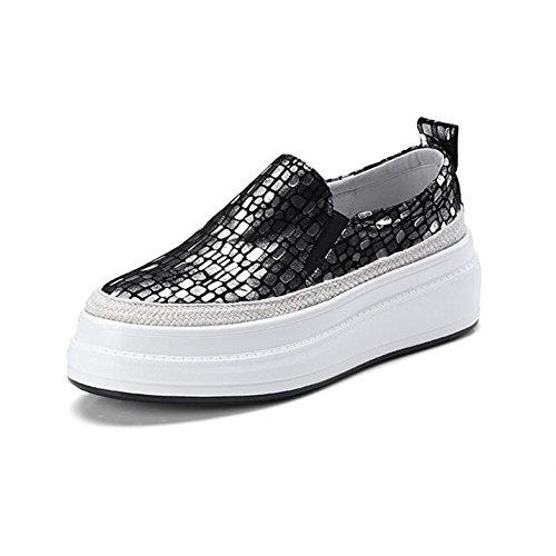 Taille Peau de Marée de EU36 Chaussures Silver Confortables 5 Couleur UK3 Plates Chaussures Mouton Chaussures Décontractées Chaussures en Pédale Or CJC Femelle épaisse FCUw4nqw