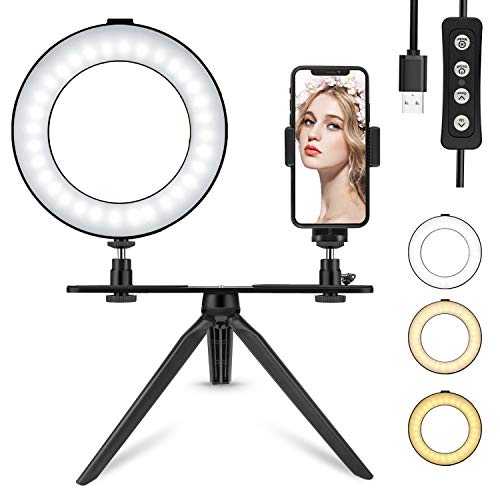6'' LED Ring Light with Tripod Stand for Makeup/YouTube Video, Tenswall Mini Desktop LED Camra Light with Phone Holder Selfie Ring Light for Live Stream/Photography with 3 Light Modes & 11 Brightness