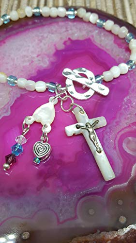 Bracelet Beaded One-Of-A-Kind *First Communion* Vintage ROSARY White Shell Beads Turquoise Glass Beads Silver Spacers Stretch W/Hammered Toggle Charms From ROSARY Crucifix Separator Silver Heart #238 ()