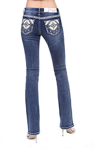 Grace in LA Women's Aztec Embellished-Pocket Bootcut Jeans (Dark Wash, 30)