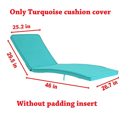 Do4U Outdoor Pool Garden Patio Chaise Lounge Recliner Bed, Easy to Assemble, 1 Pc Chaise Lounge Chair (1 Pcs Turquoise Cushion)