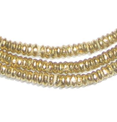(Brass Heishi Beads - Full Strand Ethiopian Metal Spacers for Jewelry Making - The Bead Chest (4mm))