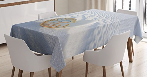 Ambesonne Seashells Decor Tablecloth, Nautilus Spiral Shell on Sand Dune Seashore Nature Beach Marine Pattern and Natural Texture, Dining Room Kitchen Rectangular Table Cover, 52 X 70 inches
