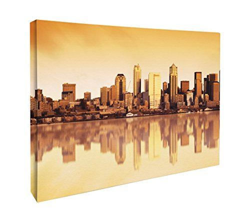 JP London CNV2214 Chicago Sunset Skyline City from Water Canvas Art Wall Decor, 1.5' x 2'