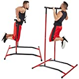 GoBeast Pull Up Bar Free Standing Dip Station - Portable Power Tower Home Gym Equipment With 3 Resistance Bands, Storage Bag And Downloadable Exercise Manual, Red Black
