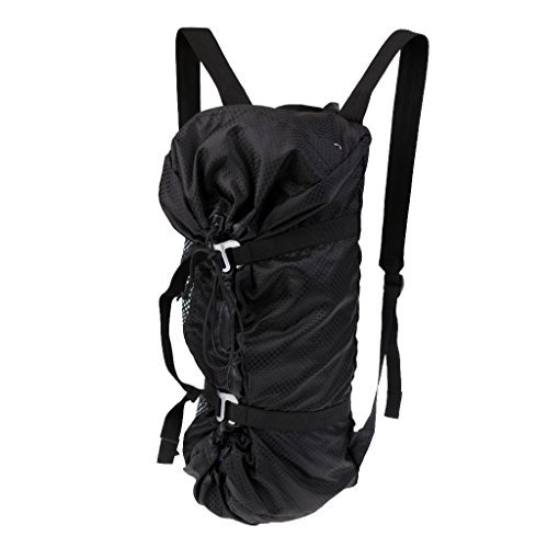 MonkeyJack Large Ultra-light Folding Outdoor Rock Climbing Rope Equipment Storage Bag Backpack with Ground Sheet & Shoulder Straps Black by MonkeyJack