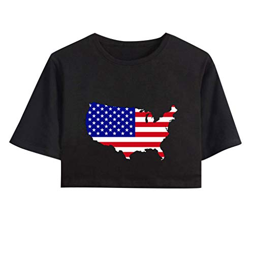 Smdoxi Women's Navel Short Sleeve T-Shirt American Independence Day Print Casual Sexy Top Black]()