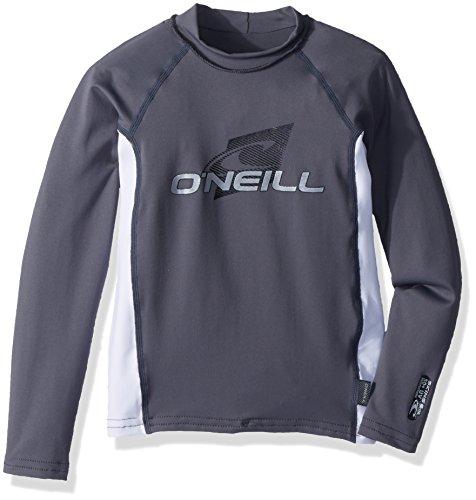 (O'Neill Youth Premium Skins UPF 50+ Long Sleeve Rash Guard, Graphite/White, 14)