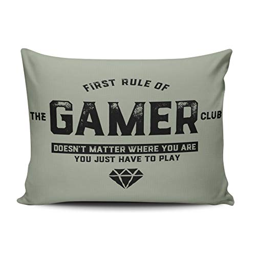 Fanaing Bedroom Custom Decor Gamer Club for Video Games Geek and Nerd Pillowcase Soft Zippered Throw Pillow Cover Cushion Case Fashion Design One Sided Printed Boudoir 12X18 Inches (Pillow Custom Shams)