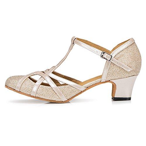 High Shoes PU Heel QJ6133 Ballroom Glitter T Dance Toe Champagne 5cm Heel Closed Tango MINITOO Strap Salsa Womens Leather Latin ACIaq