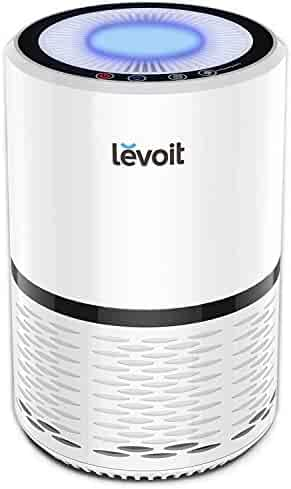 LEVOIT Air Purifier for Home Smokers Allergies and Pets Hair, True HEPA Filter, Quiet in Bedroom, Filtration System Cleaner Eliminators, Odor Smoke Dust Mold, Night Light, White, LV-H132, 1Pack
