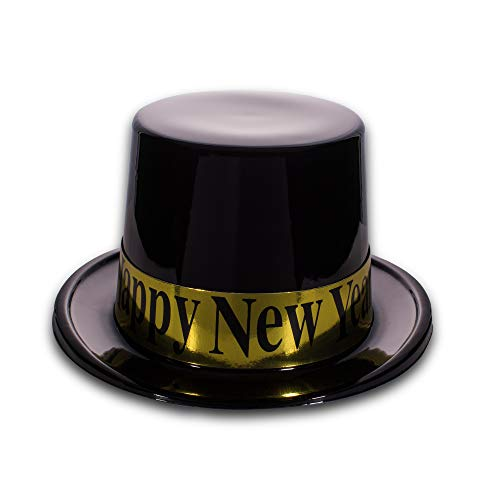 Black and Gold Happy New Years Plastic Party Top Hat - Happy New Year Top Hat