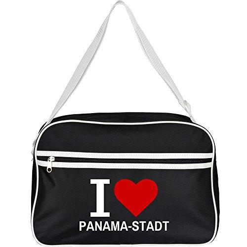 Retrotasche Classic I Love Panama-Stadt schwarz