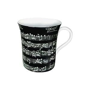 Waechtersbach Konitz Vivaldi Libretto Music Black Coffee Mug CUp by Konitz