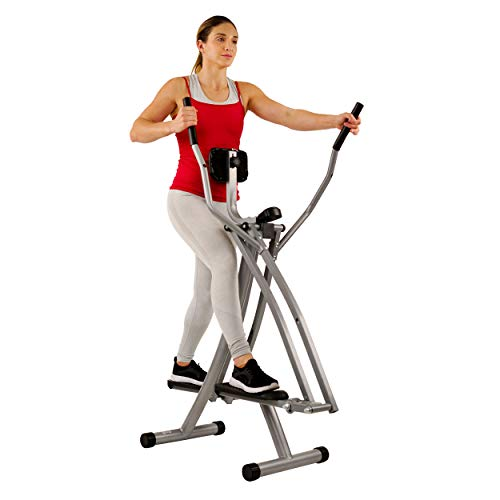 Sunny Health & Fitness SF-E902 Air Walk Trainer Elliptical Machine Glider w/ LCD Monitor, 220 LB Max Weight and 30 Inch Stride