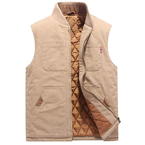 Flygo Mens Casual Outdoor Work Utility Quilted Duck Insulated Vest (Large, - Pocket Quilted Vest Two