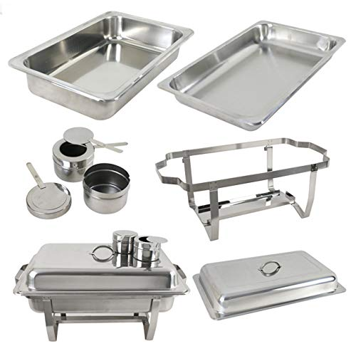 SUPER DEAL 8 Qt Stainless Steel 4 Pack Full Size Chafer Dish w/Water Pan, Food Pan, Fuel Holder and Lid For Buffet/Weddings/Parties/Banquets/Catering events (4) by SUPER DEAL (Image #7)
