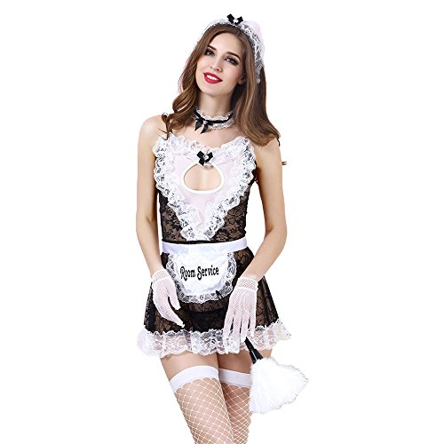 Iooho Women Sexy Lingerie Anime Cosplay French Apron Maid Fancy Dress Costume, One Size, (Womens Sexy French Maid Costume)
