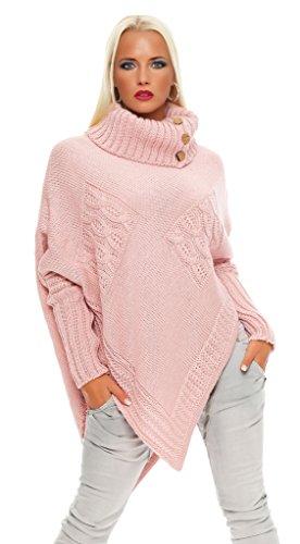 30-01 Mississhop Poncho Strick Sweatshirt Pullover Umhang Überwurf Rosa