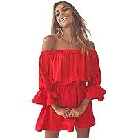 Hot Sale! Pleated Dresses,Women Flare Sleeve Off Shoulder Short Dress Summer Casual Sundress