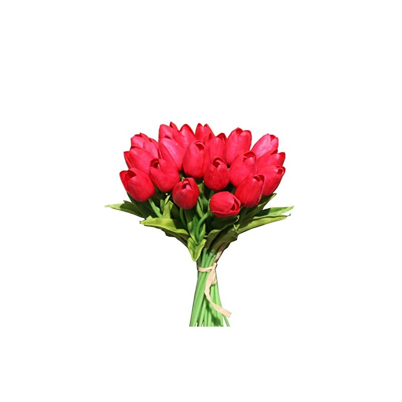 silk flower arrangements mandy's 20pcs red artificial latex tulips for party home wedding decoration
