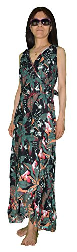 Colors of Rainbow Rainbow Jo Womens High Altitude Ruffle Wrap Maxi Dress Black S by Colors of Rainbow