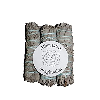 Premium California White Sage 4 Inch Smudge Sticks - 3 Pack. Alternative Imagination Brand.