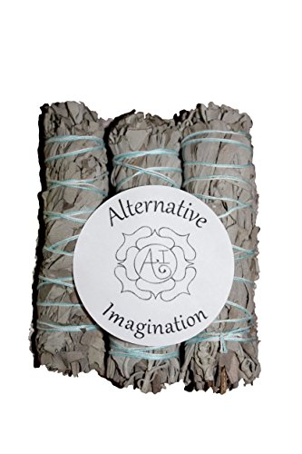 Premium California White Sage 4 Inch Smudge Sticks. Alternative Imagination Brand.